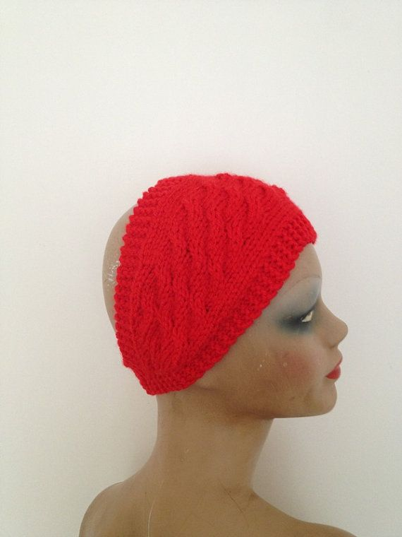 Hand Knitted Headbands Patterns : Red Hand Knitted Headband Ear Warmer by NesrinArt on Etsy, USD15.00 My Shop ...