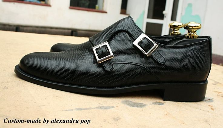 Double Monk Shoes Lizard Vitello Leather Custom-Made Leather Sole by Alexandru Pop