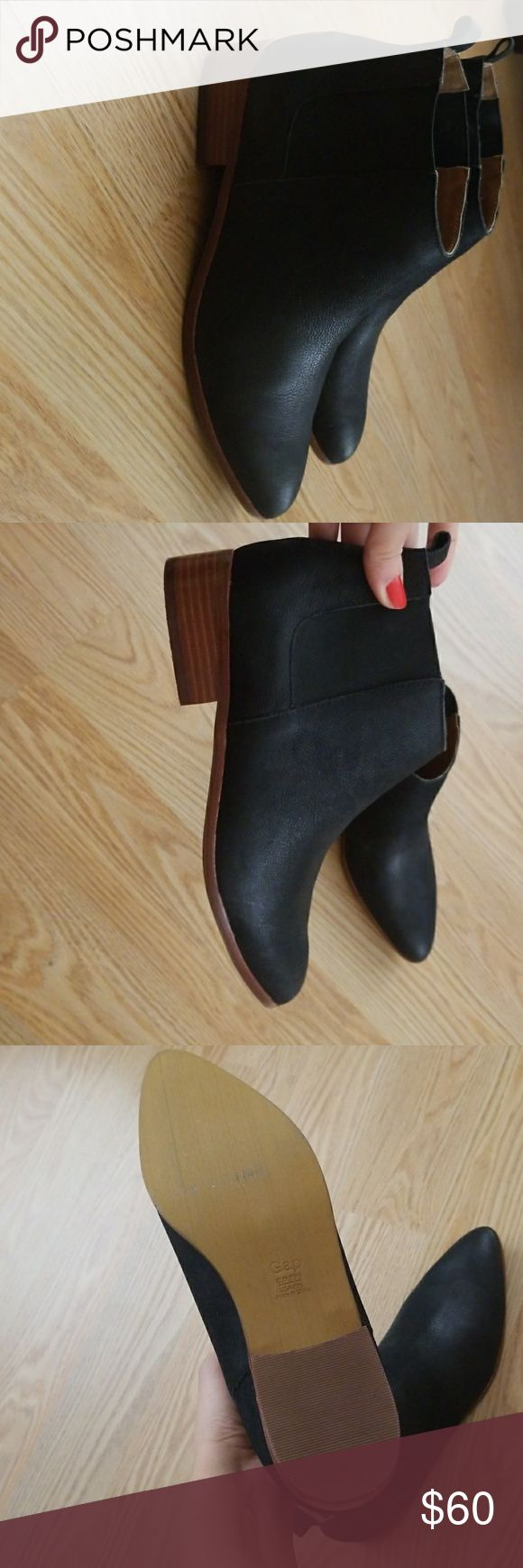 Brand new-Navy leather booties *Price Negotiable* Brand new booties without box GAP Shoes