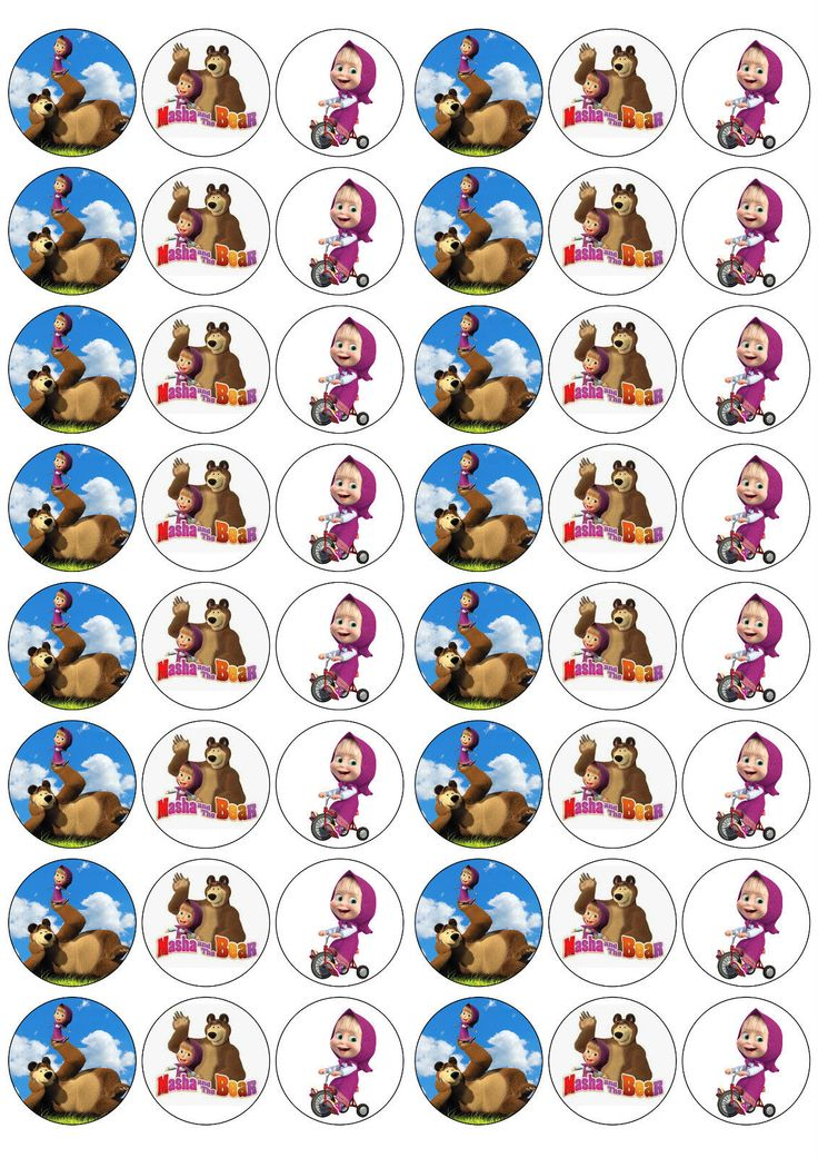 *48 3cm Masha & The Bear Edible Rice/Wafer Paper Cupcake/Fairy Cake Toppers* | eBay