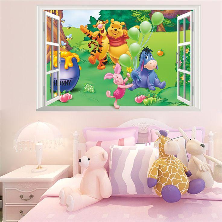 Awesome Cartoon D Window Winnie Pooh Bear Tiger Pig Wall Stickers For Kids Room Baby Nursery Home