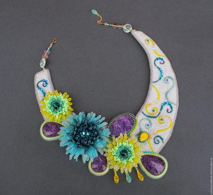 Купить Aster - комбинированный, фиолетовый, фиолетовый цвет, фиолетовый камень, цветок, цветок из бисера, астра
