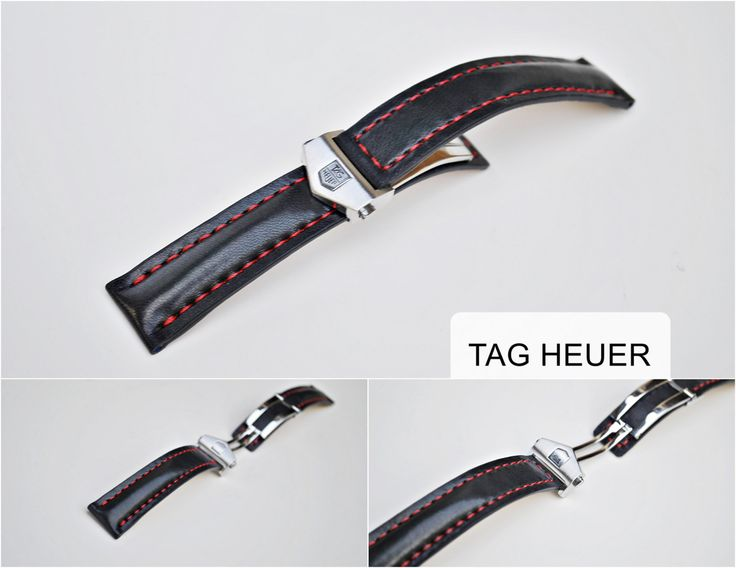 Tag Heuer Custom Handmade Watch Strap - Calfskin & Red Stitching - More colors and sizes on order by ChristianStraps on Etsy