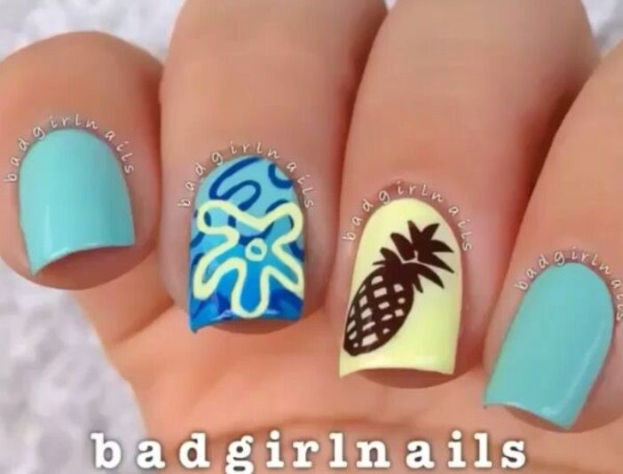 191 best nail designs images on pinterest spongebob nail art prinsesfo Image collections