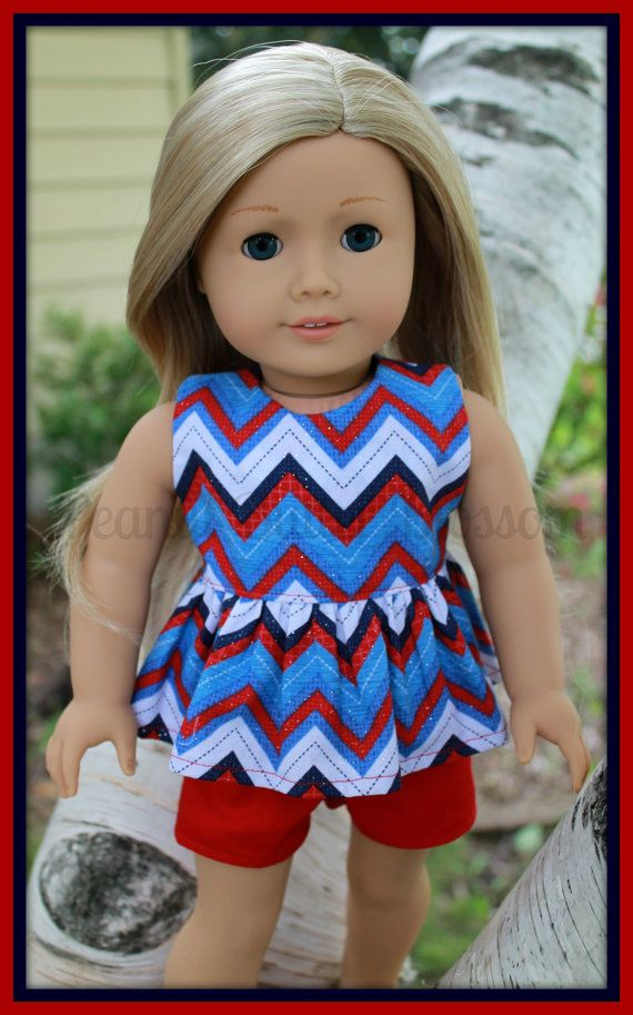 American Girl Doll Patriotic Chevron Outfit by PeanutButterBlossom