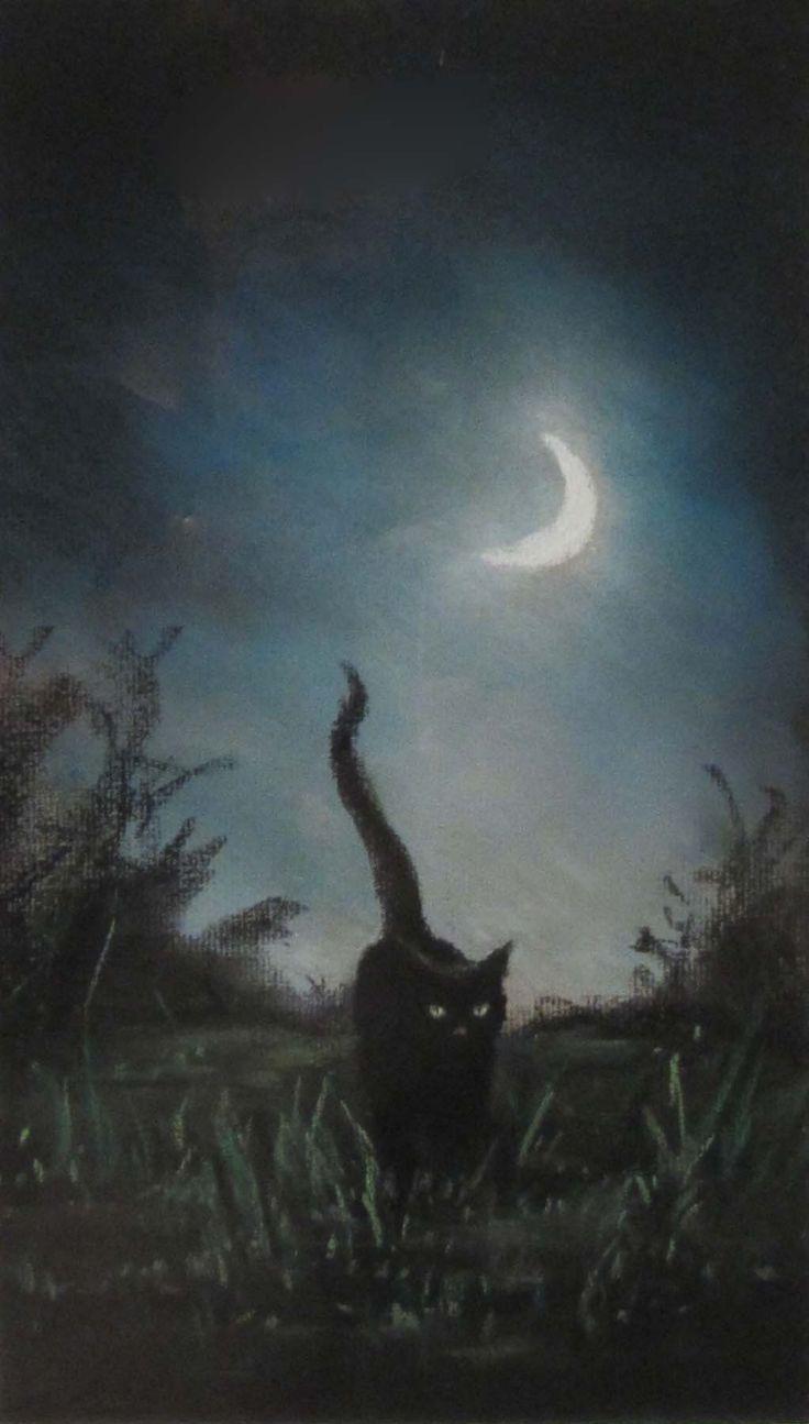 – Anne Sudworth – Schwarze Katze bei Mondschein. Pastell-   – Nacht