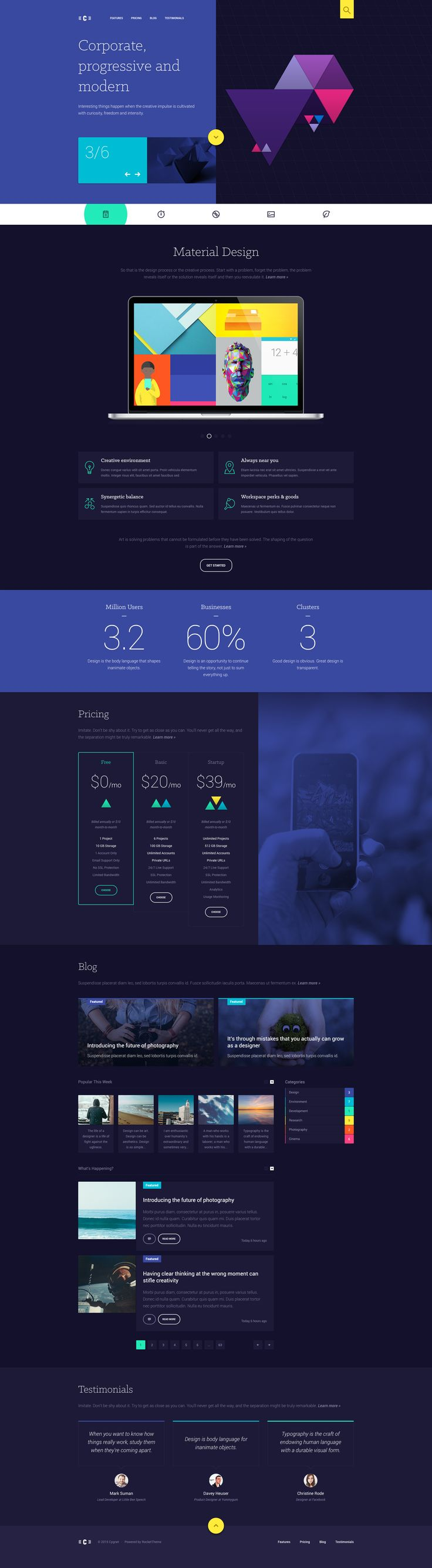 Cygnet, landing page, minimal, material design, colors, dark, typographic, photos, illustrations