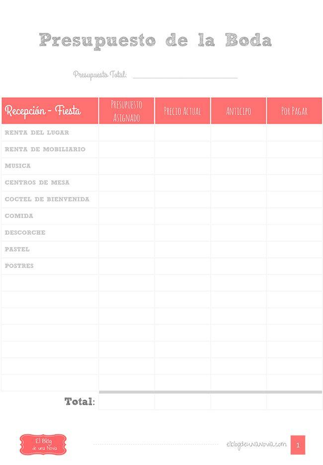 Plantilla imprimible: Registro de los gastos de la Boda   El Blog de una Novia