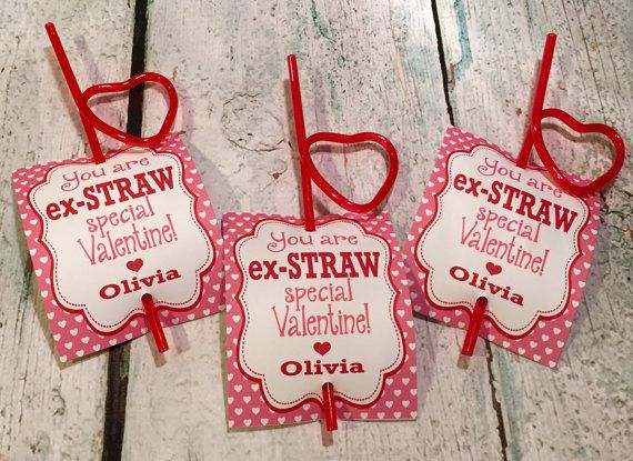 Darling Silly Straw Valentines Pink with hearts, heart shaped straw www.lolosboutique.etsy.com