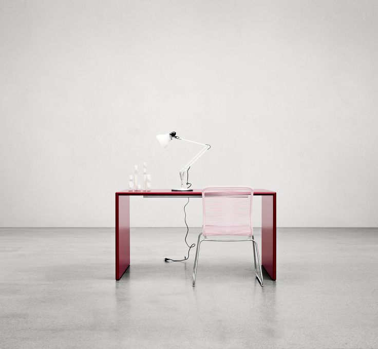 monterey table in china red and the panton one chair in. Black Bedroom Furniture Sets. Home Design Ideas