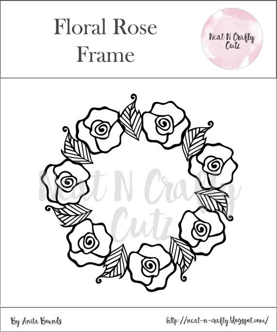 Floral rose frame cut file. For scrapbooking and paper crafting