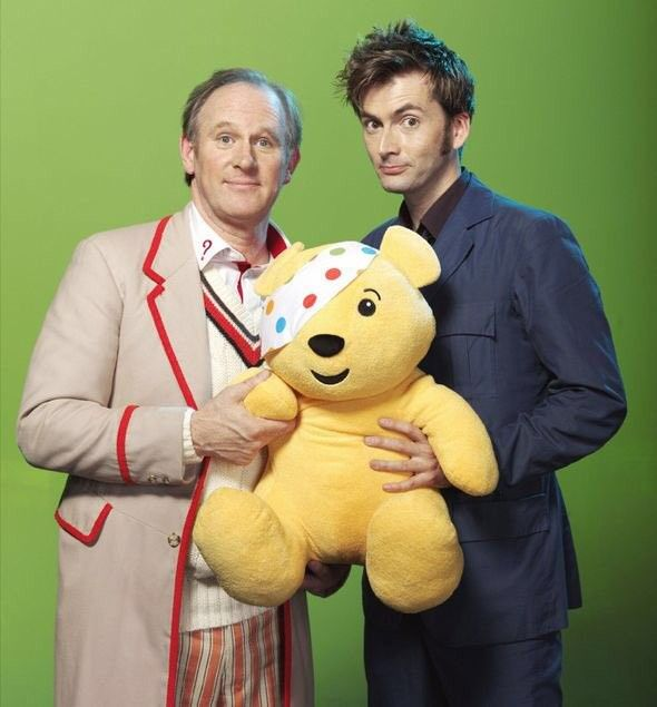 "Peter Davison and David Tennant for Children in Need  Watch ""Time crash""; their special episode where 10 meet 5 (aka where Tennant if fangirling about his favourite Doctor )"