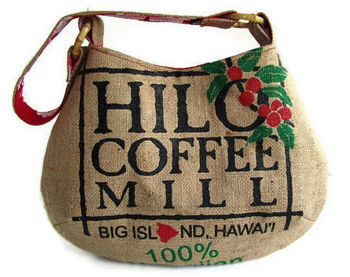 MTO. Custom. Hilo café molino totalizador. Arpillera de reutilizar bolsas de café. Isla grande. Hecho a mano en Hawaii.