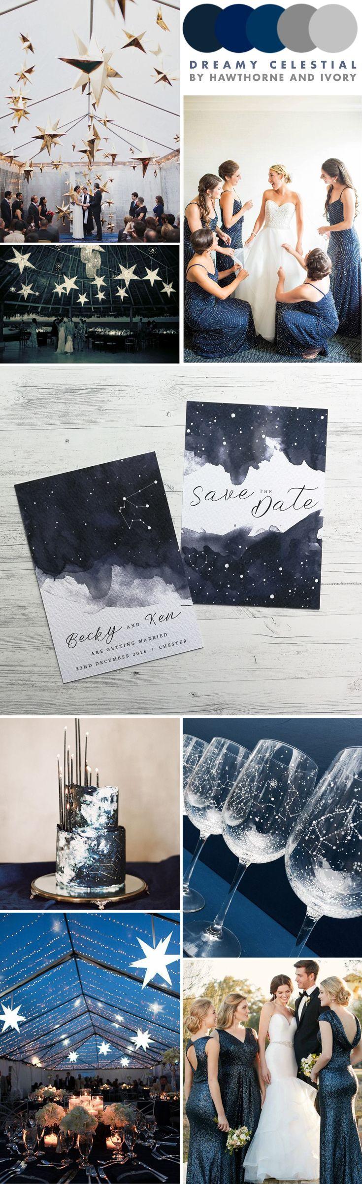 Celestial Star Themed Wedding Inspiration Moodboard