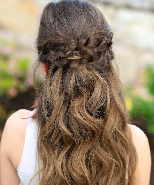 double braided crown long prom