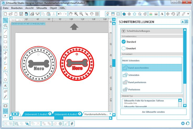 Labels mit der Silhouette Studio Software gestalten.