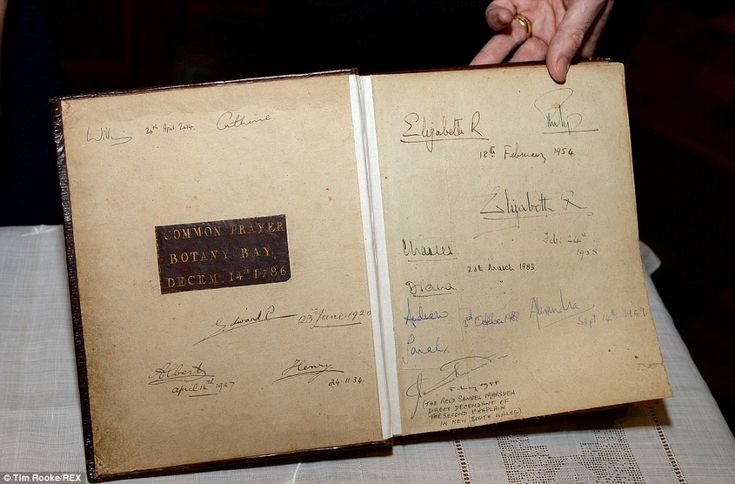 """The Duke and Duchess added their names to the """"First Fleet Bible,"""" the bible used in the first Christian service held in Australia in 1788. It has since been signed by several members of the Royal Family, including Queen Elizabeth II in 1954; William's parents, the then Prince and Princess of Wales, in 1983; the Duke and Duchess of York in 1988; and Queen Elizabeth the Queen Mother in 1958."""