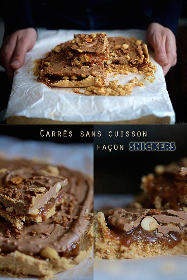 Carrés sans cuisson façon snickers | Cuisine en scène - CotéMaison.fr