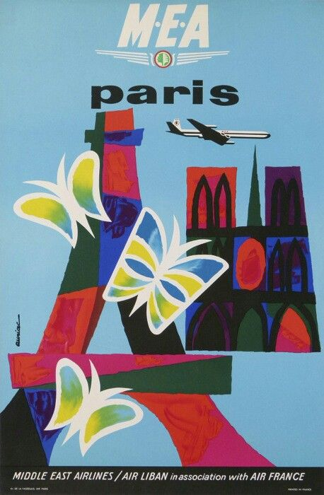 MEA ● Paris by Jacques Auriac #tourism #poster (1960s)