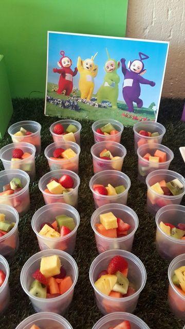 Fresh Fruit Cups & Teletubbies Cardboard Cut Out Centrepiece