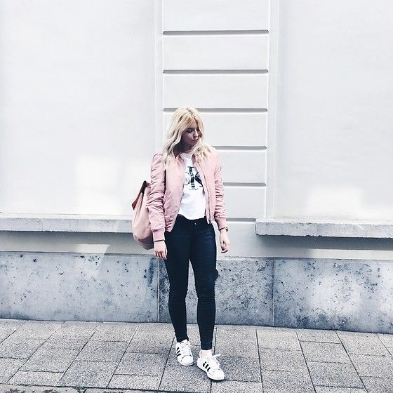 Get this look: http://lb.nu/look/8174357  More looks by Elza B: http://lb.nu/elzha  Items in this look:  Stradivarius Pink Bomber Jacket, Calvin Klein T Shirt, Zara Pink Backpack, Adidas Superstar Trainers   #casual #minimal #street #minimalistic #adidas #adidassuperstar #adidassuperstars #superstars #fblogger
