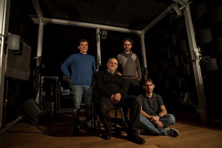 Prof. Augusto Sarti with some of the member of the Staff of the Acoustic Lab (left to right: Alessandro Liberatore, Massimiliano Zanoni, Antonio Canclini)