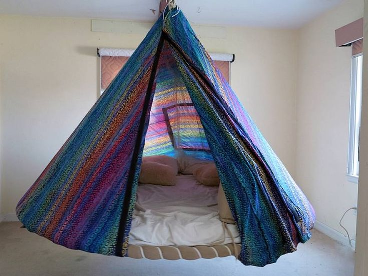 Bedroom round shape hammock beds for indoors with brown for Diy bedroom hammock