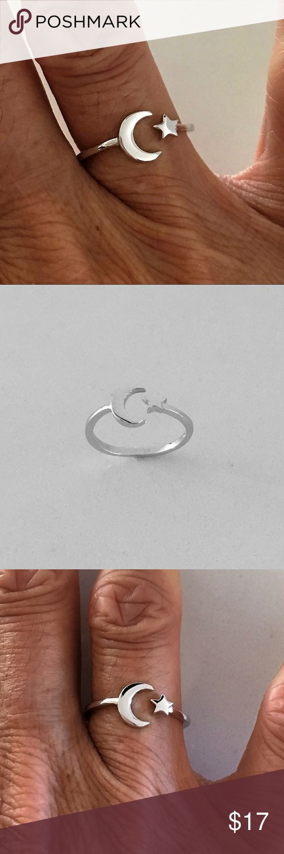 Sterling Silver Moon and Star Ring Sterling Silver Moon and Star Ring, Toe Ring, Midi Ring, Pinky Ring, Index Ring, Thumb Ring, 925 Sterling Silver, Face Height: 8 mm, Finish: High Polish, Rhodium Plated, PLEASE VISIT MY SITE indigoandjade.com Jewelry Rings