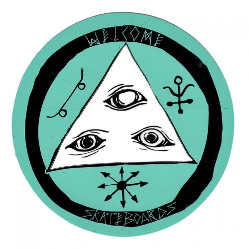 "Welcome Skateboards <br>Welcome Talisman Round Logo Sticker <br> Black/Teal/White 3"""