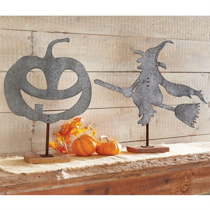 Tin Decorative Pumpkin Table Sitter | Halloween Home Decor | Pumpkins | Witch and Witches | Witch Halloween Decorations | Halloween Decorations | Spooky