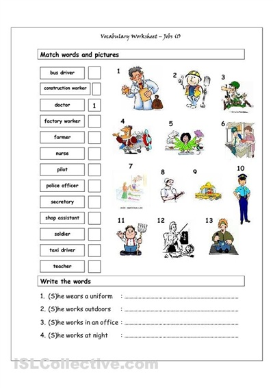 Vocabulary Matching Worksheet Jobs 1 Good For The