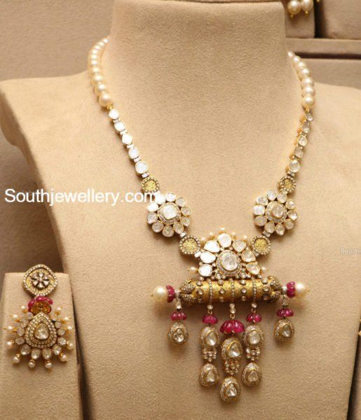 Flat Diamond Long Chain and Earrings photo