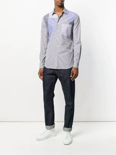 Alexander McQueen camisa a rayas con parches