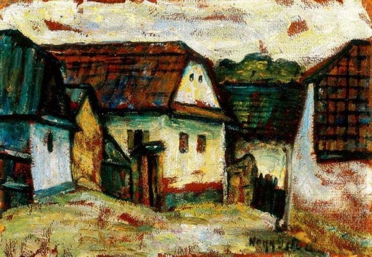 Nagy Istvan's painting, Transylvanian village