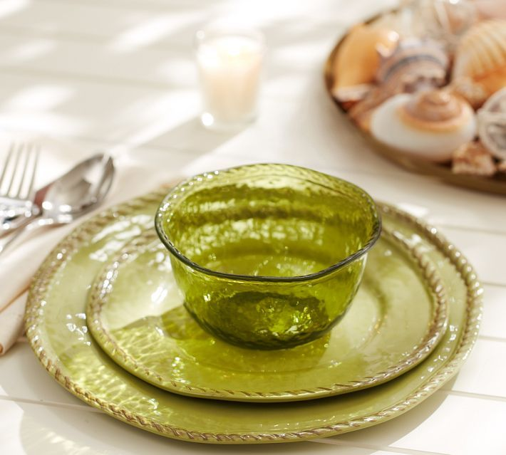 Rope Outdoor Dinnerware, Green | Pottery Barn