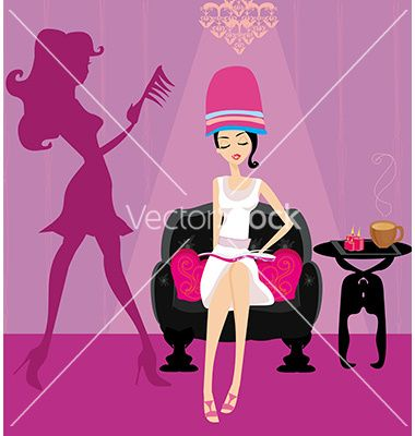 Elegant girl in a beauty salon reading the vector