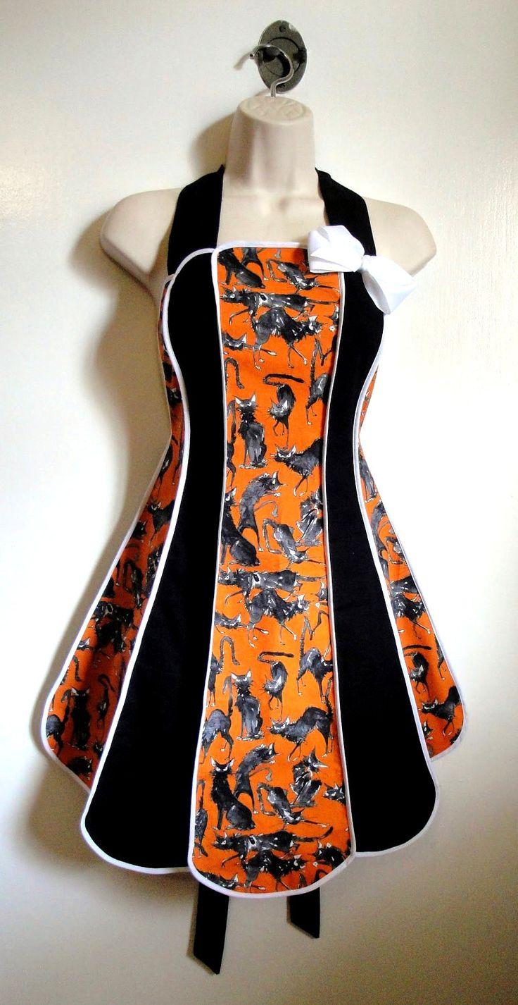 Vintage inspired Halloween apron - Sebastian Ghastly stylist / kitchen apron by XO Skeleton Creations. $50.00, via Etsy.