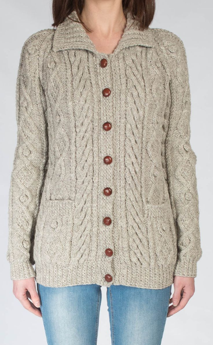 Ladies Luxury Hand-Knitted Aran Cardigan - Ness. Scotweb
