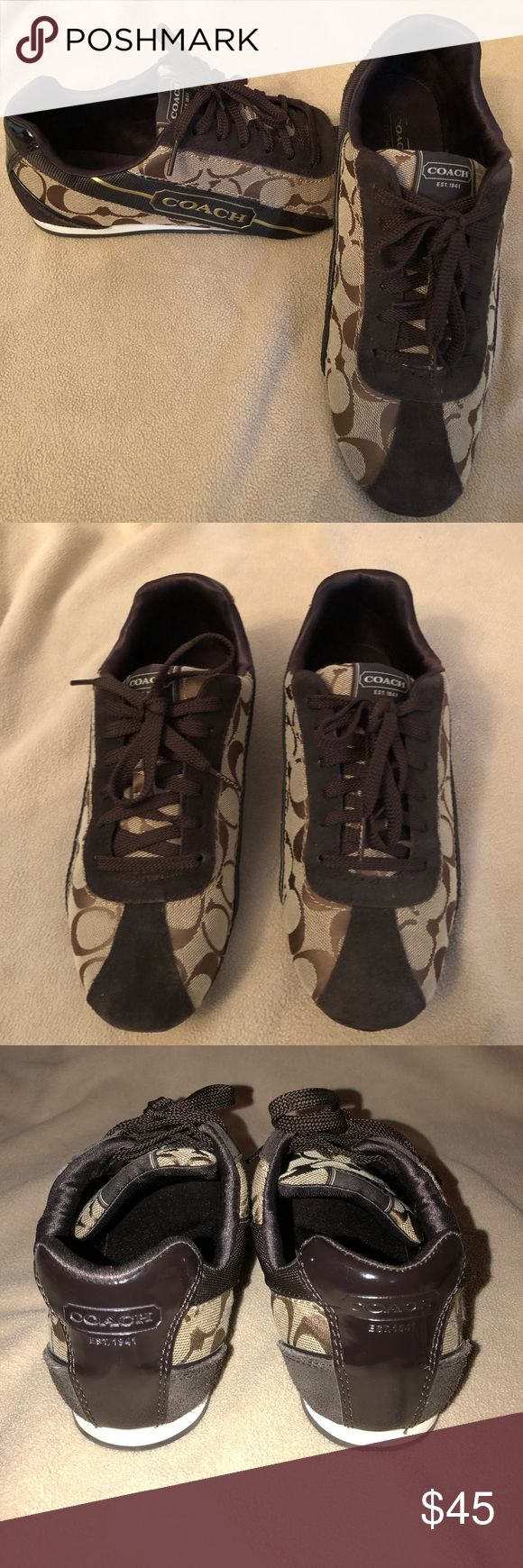 COACH Hilary sneakers, chocolate Excellent like new condition!! Coach Shoes Sneakers