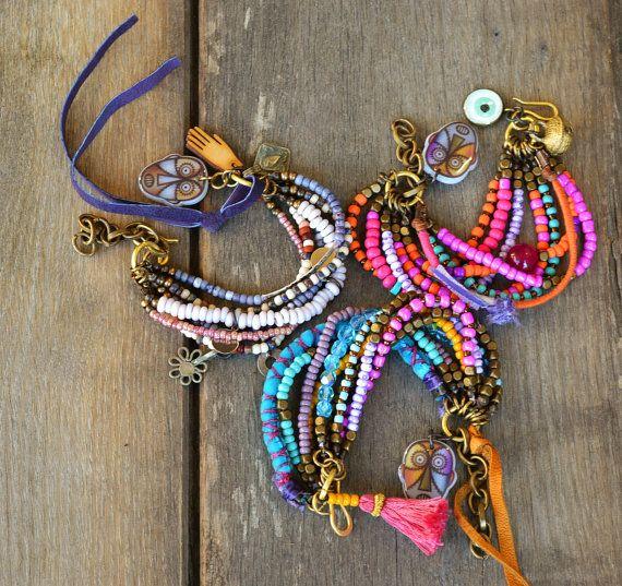 Reserved for QS. Hipppie, Boho, Gypsy multi strand bracelet. Ethnic bracelet,