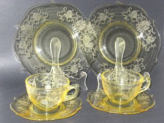 Beautiful pattern of Depression Glass.  I love the color too.  Its rare to see such a bright yellow.  So lovely.