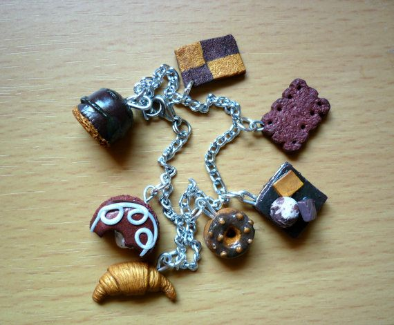 Chocoholic Bracelet Chocolate Miniature Food by jewelryfoodclay