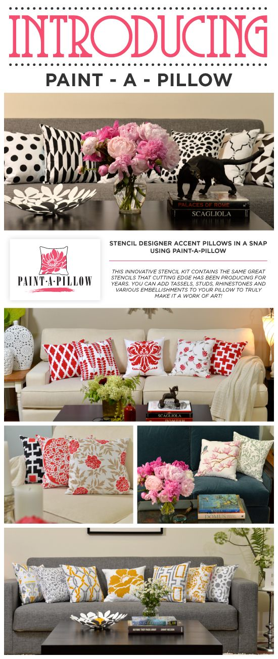 Create your own custom designer pillows with our Paint-A-Pillow stencil kit!   http://paintapillow.com/?utm_source=Juan&utm_medium=Direct%20Marketing&utm_campaign=Social%20Networks  #stenciled #pillows