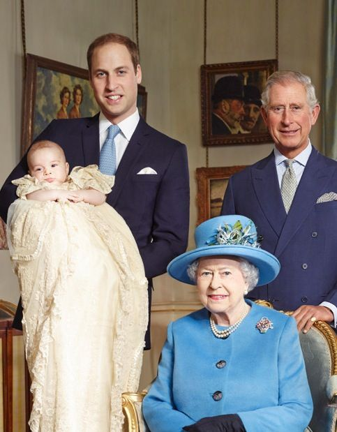 Four generations of the House of Windsor - His Royal Highness Prince William Arthur Philip Louis, Duke of Cambridge and Earl of Strathearn; His Royal Highness Prince George Alexander Louis of Cambridge (his christening day); His Royal Highness Prince Charles Philip Arthur George, Prince of Wales, Earl of Chester, Duke of Cornwall, Duke of Rothesay, Earl of Carrick, Baron of Renfrew, Lord of the Isles and Prince and Great Steward of Scotland; and Her Majesty The Queen (October 23, 2013).