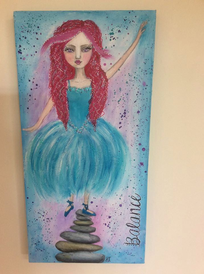 Original art pink hair ballerina with teal tutu, balance on rocks, suit anyone for gift, OOAK, acrylic art, bo ho whimsical, manga by HomeofWhimsy on Etsy
