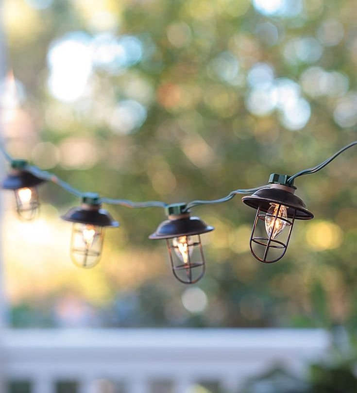 Indoor/Outdoor Electric Metal Lantern String Lights plow & hearth
