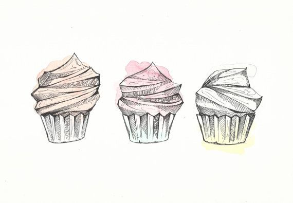 Cupcakes - illustrazione originale - pittura ad acquerello e inchiostro - arte moderna - Home Decor - colori pastello