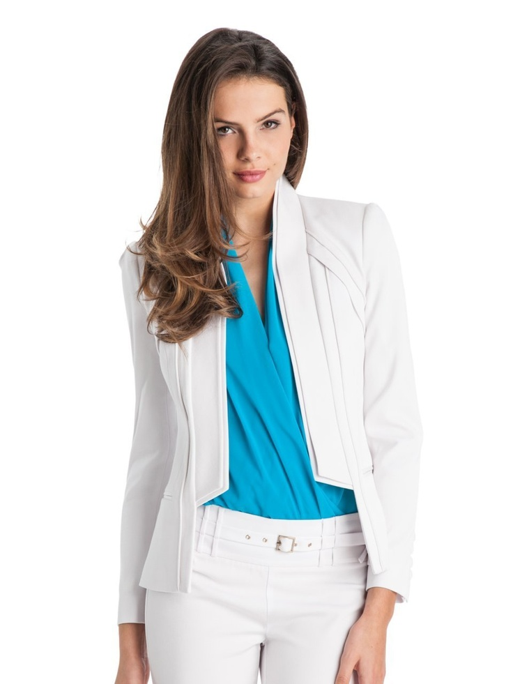 #GUESS by Marciano Mina Blazer - $248  Anything but #basic, this #blazer is your new go-to piece. Whether you're dressing for the office or for an #evening #event this structured piece is sure to impress. Structured #blazer. Layered straight lapel. Long sleeves with five-button cuffs. Ribbed #design . Layered panels at shoulders. Piping trim throughout. Single vent.