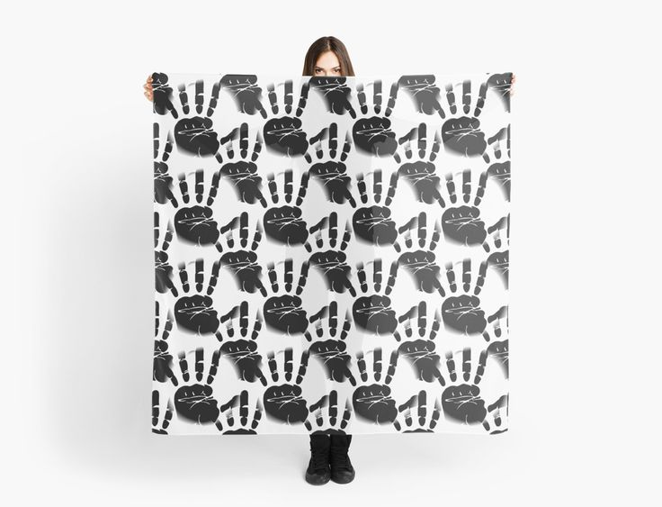 #Save 20% from the safety of your sofa with code SHARKMANIA - Palm clipart pattern, handprint, stencil BW #scarf • Also buy this artwork on #apparel, stickers, phone cases, and more. #accessories #style #fashion #design #woman