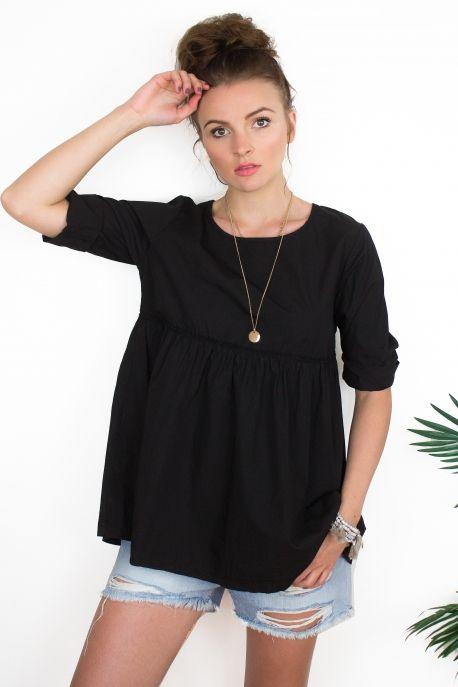 34.90€ - Pretty Wire - Blouse Cute peplum noire